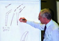 In mancanza della lavagna nera, il Prof. Schilder fa i suoi disegni sulla lavagna di carta.